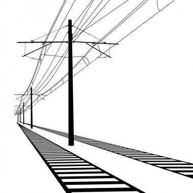 Railroad overhead lines. Contact wire. Vector