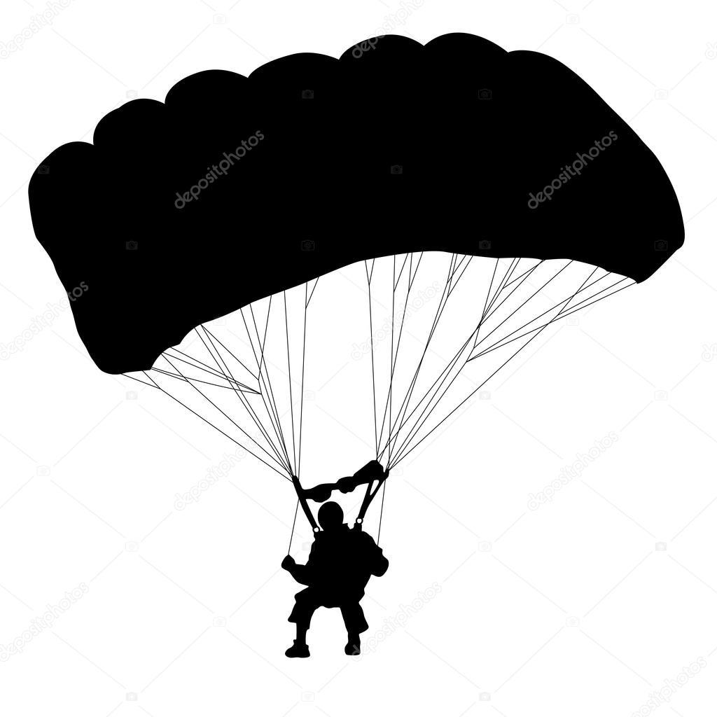skydiver silhouettes parachuting vector stock vector aarrows rh depositphotos com parachute vector free download parachute vector png
