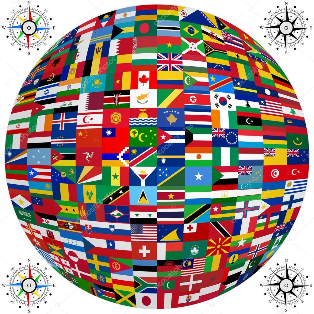 zestaw flagi państw świata. Ilustracja wektorowa — Grafika ...