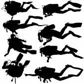 Set black silhouette scuba divers. Vector illustration.