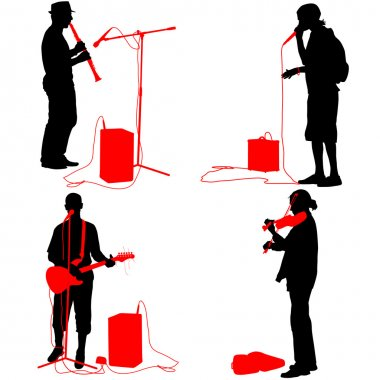 Set  silhouettes  musicians playing musical instruments. Vector