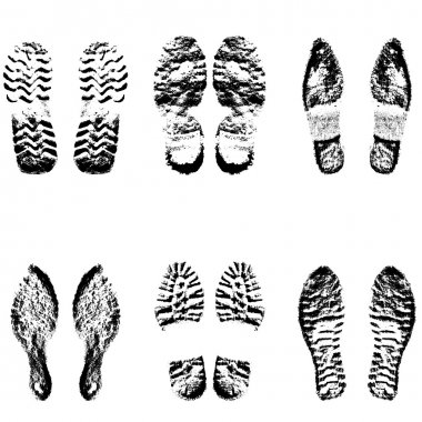Collection  imprint soles shoes  black  silhouette. Vector illustration
