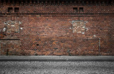 Industrial background, empty grunge urban street with warehouse brick wall stock vector