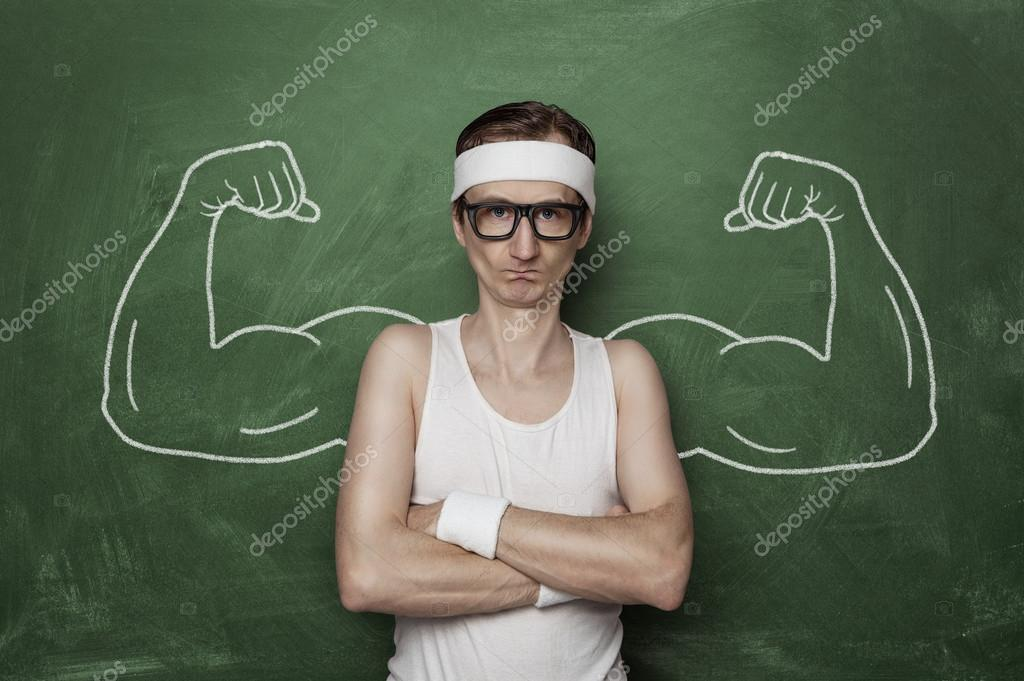 Funny nerd flexing fake muscles