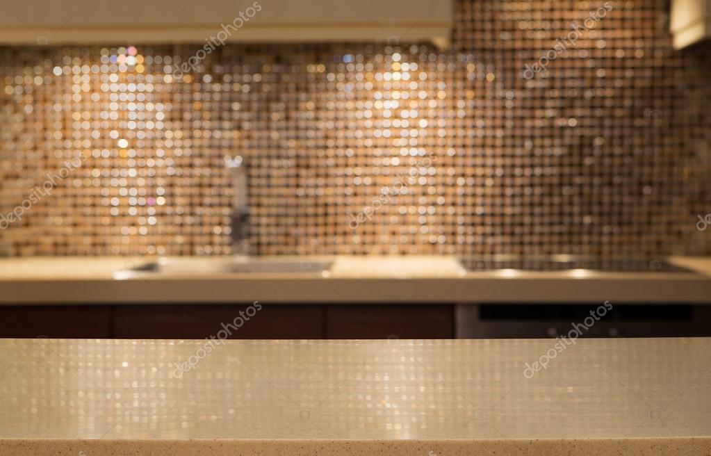 Pusty Marmurowym Blatem W Kuchni Zdjęcie Stockowe