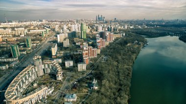 Panoramic aerial view of Moscow with Moskva River