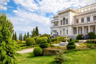 Livadia Palace near city of Yalta, Crimea. Livadia Palace was a summer retreat of the last Russian tsar, Nicholas II. The Yalta Conference was held there in 1945.