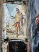 Fotografie Antiken Fresko des Gottes Priapos in Pompeji, Italien