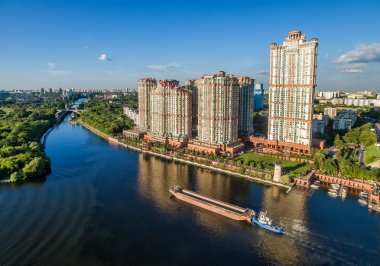 Aerial view of Moscow with skyscrapers over Moskva River