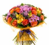Fotografie Kytice přírodní oranžové růže a barevné květy