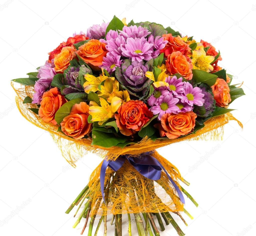 Bouquet of natural orange roses and colorful flowers