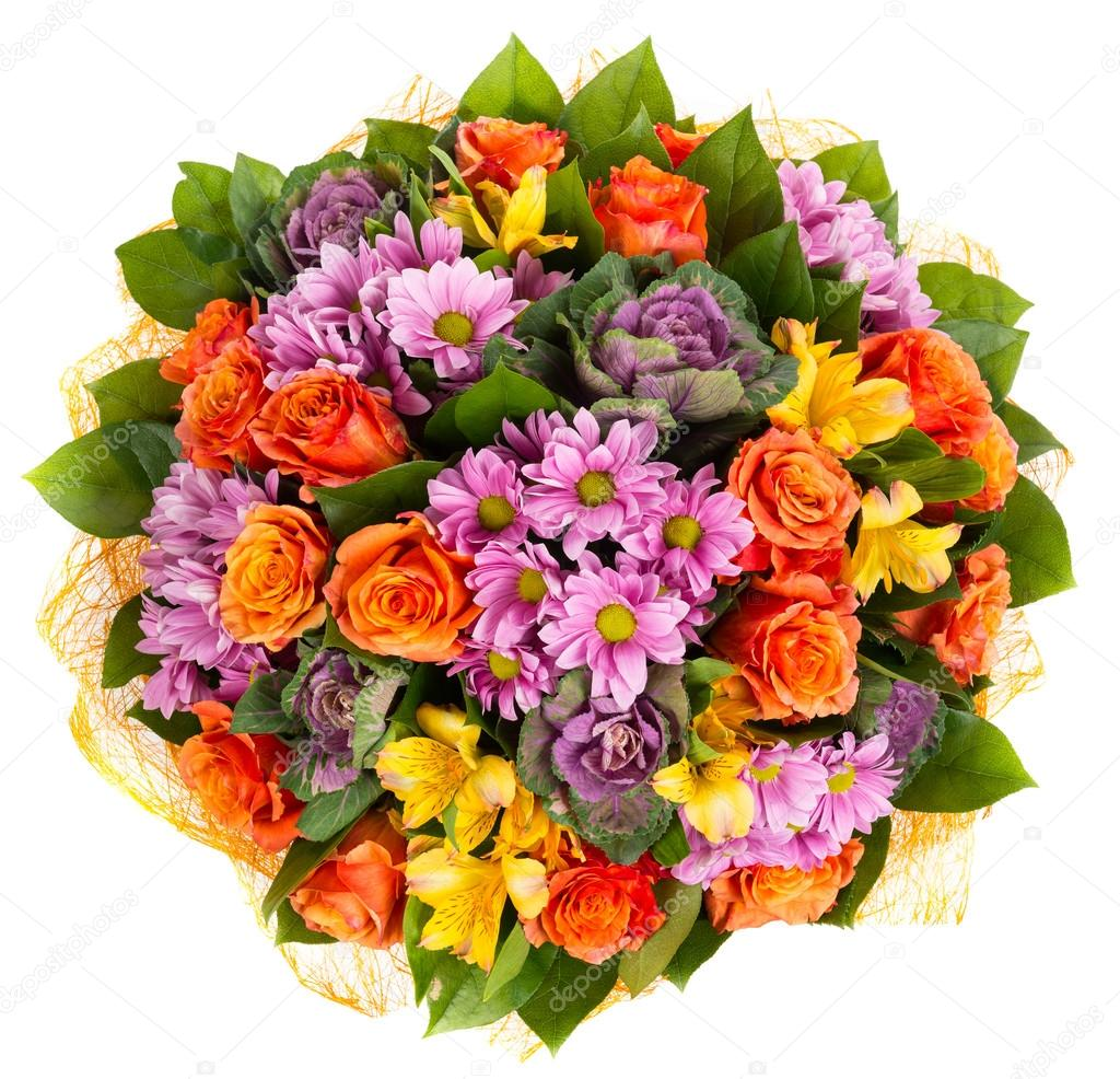 Colorful bouquet of roses and gerberas