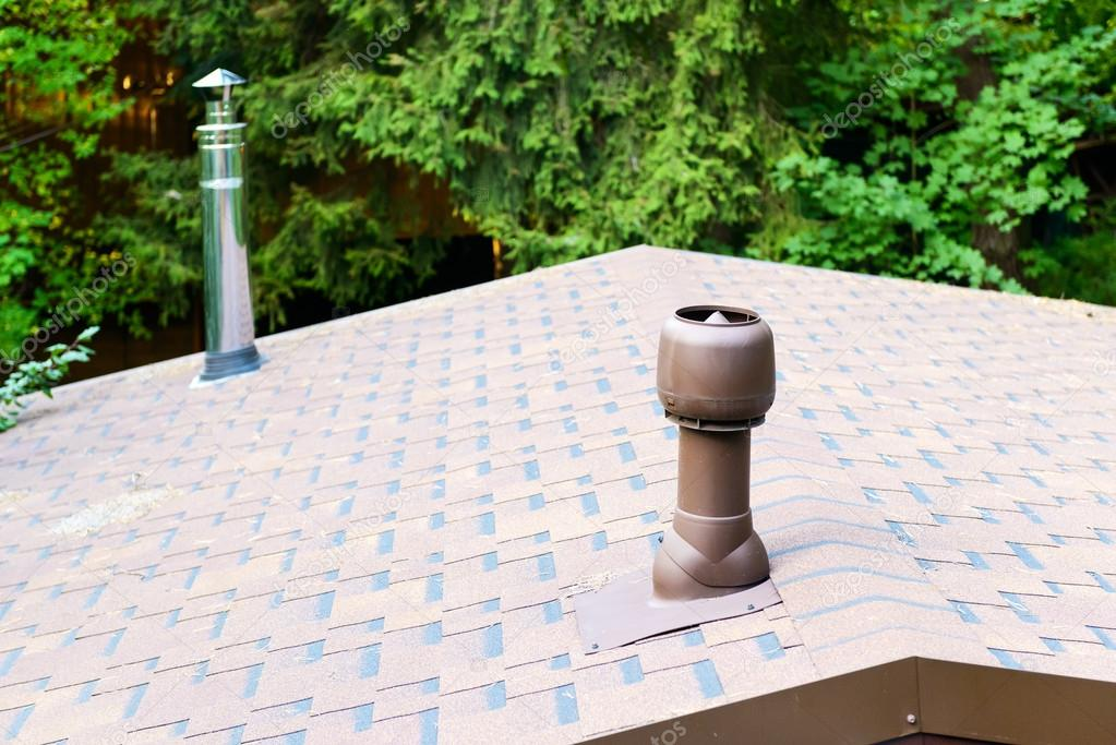Modern chimneys on the roof