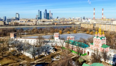 View of Moscow from Novodevichy convent. Moscow City in the dist