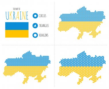 Ukraine Map in 3 Styles