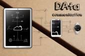 Intelligente Gadgets Datenkommunikation Illustration