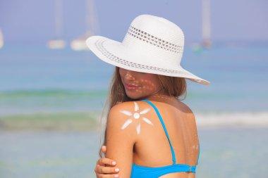 summer woman sun skin care concept
