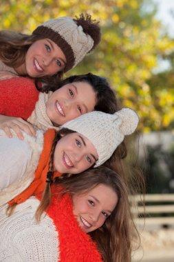 group of happy autumn kids