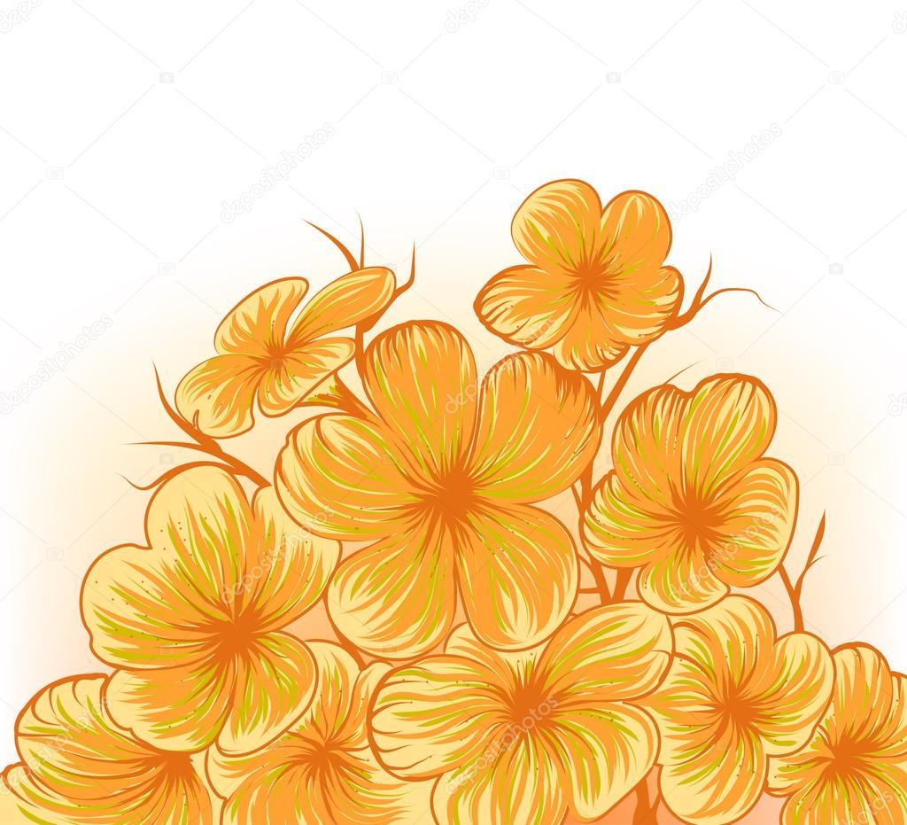 Main De Scene De Fleur Frangipanier Dessin Image Vectorielle