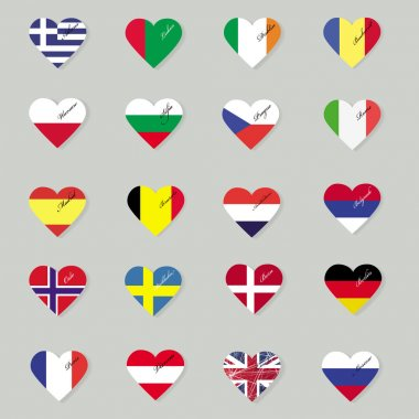 Set of original flags of the countries of Europe.