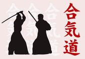 Fényképek két férfi vesznek részt, aikido