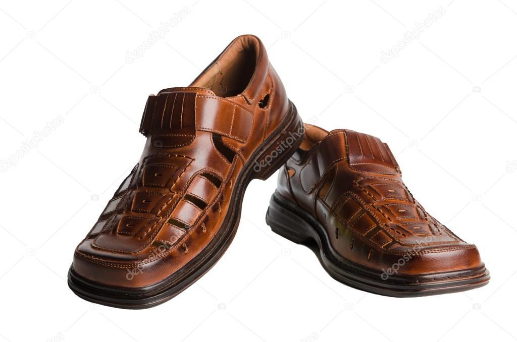 6da76f8eae0 Δερμάτινα Ανδρικά παπούτσια καλοκαιρινά απομονωθεί σε λευκό– εικόνα αρχείου