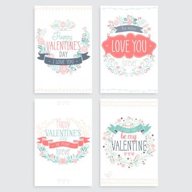 Valentines Day hand drawn card set. Vector illustration.