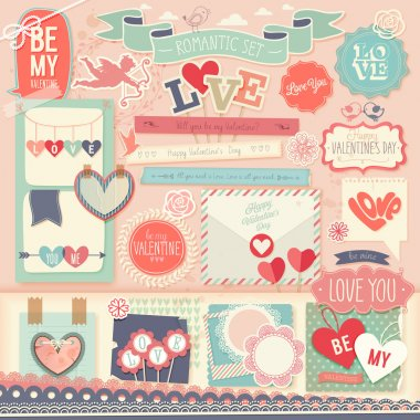 Valentines Day scrapbook set - decorative elements.