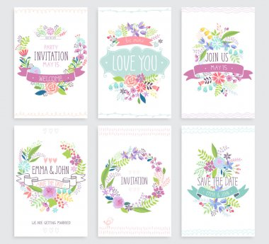Romantic Floral hand drawn card set.