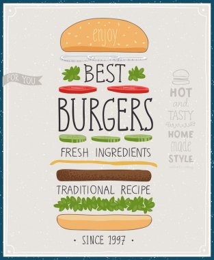 Best Burgers Poster - hand drawn style.