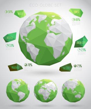 Set of vector eco globes - geometric modern style.