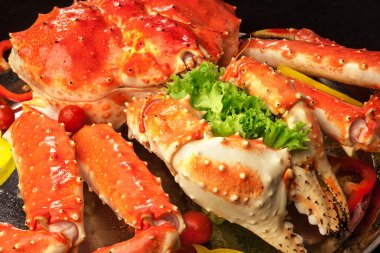 Red king crab served on big plate