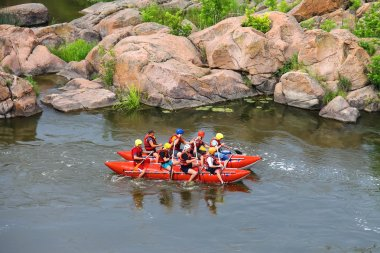 Rafting tourists with an experienced instructor on the river Sou