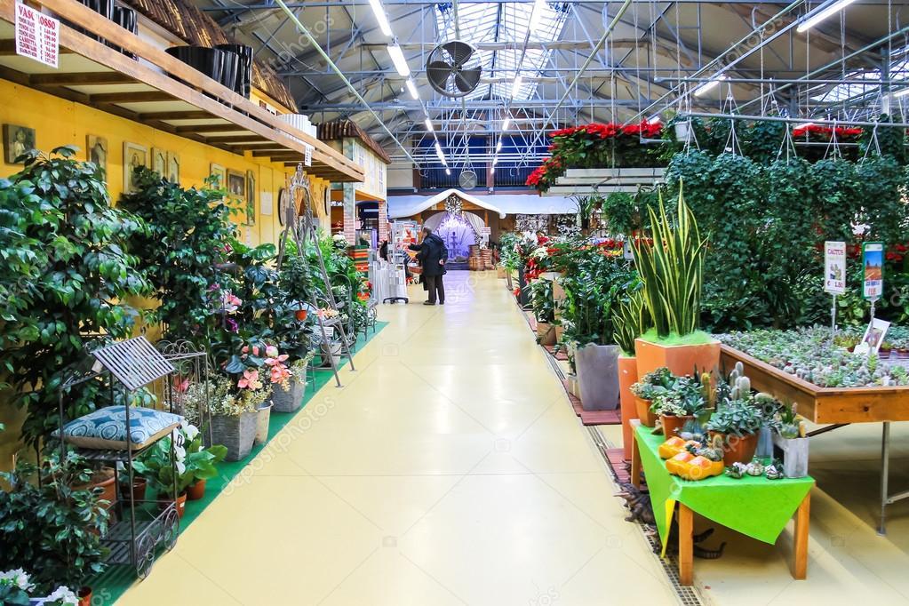 Buyers select the goods to the garden center Mondoverde. Taneto, Italy