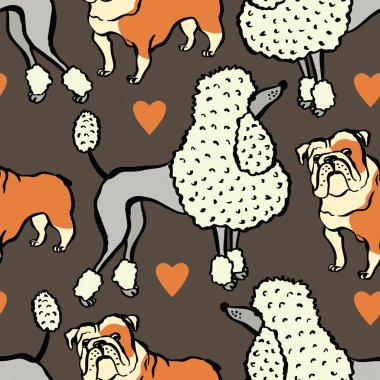 I love dogs Design with bulldog and Poodle