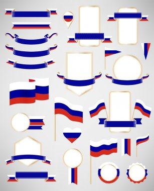 Russian flag decoration elements.