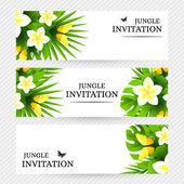 Tropická pozvání pozadí s exotických květin a žluté, ale