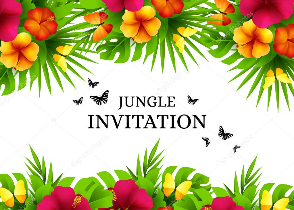 Tropical invitation background with exotic flower and yellow but summer tropical hawaiian background with jungle palm tree leaves exotic flowers and butterflies horizontal vector invitation banners with hibiscus floral stopboris Gallery