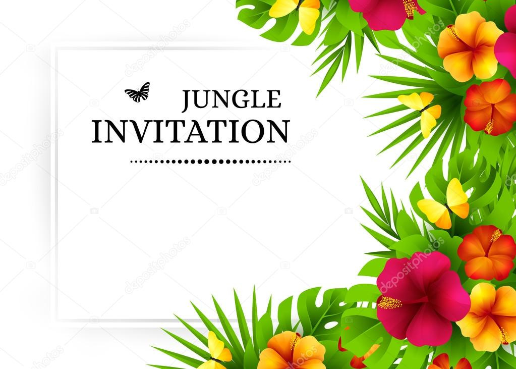 Fundo de convite tropical com flores exticas e amarela mas summer tropical hawaiian background with jungle palm tree leaves exotic flowers and butterflies horizontal vector invitation banners with hibiscus floral stopboris Images