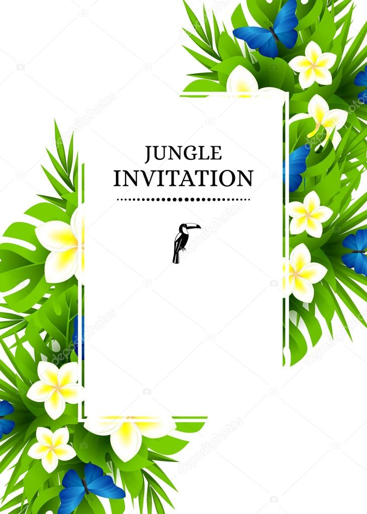 Tropical invitation background with exotic flower and blue butte tropical hawaiian background with jungle palm tree leaves exotic flowers and blue butterflies vertical vector invitation banners with plumeria floral stopboris Images