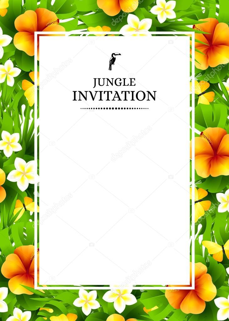 Fundo De Convite Tropical Com Flores Exóticas E Amarela Mas