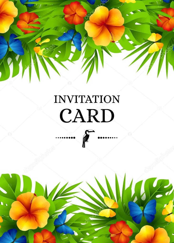 Sfondo invito tropicale con fiori esotici e butterfli for Piani di piantagione hawaiana