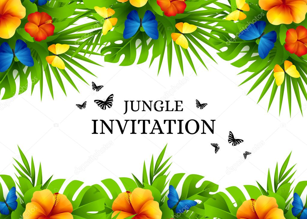 Tropical invitation background with exotic flowers and butterfli summer tropical hawaiian background with jungle palm tree leaves exotic flowers and rainbow butterflies horizontal vector invitation banners with hibiscus stopboris Images