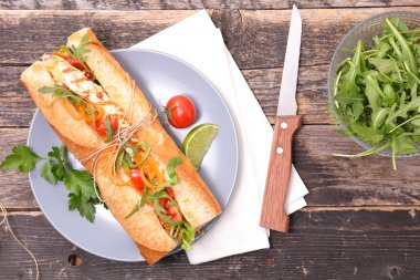 sandwich with chicken and salad