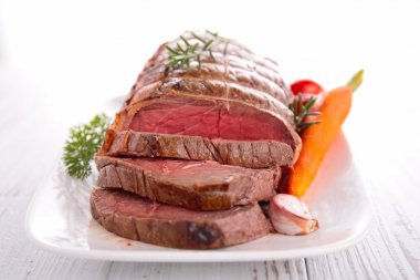 Roast beef in plate