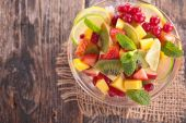 Fotografie Desert with fresh fruits and berries