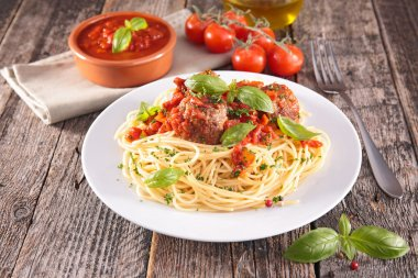 Tasty spaghetti and meatballs