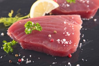Two Raw tuna fish fillet