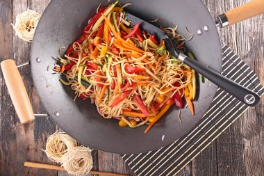 Asian cuisine with tasty sliced vegetables