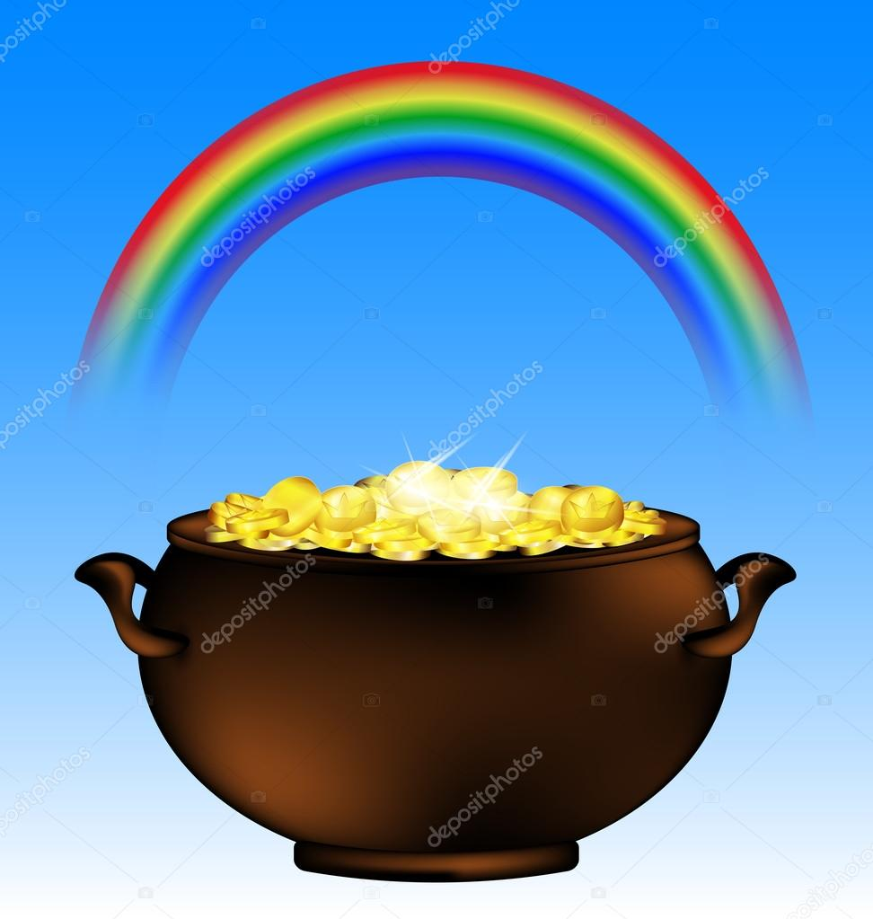 arco iris y olla de oro — Vector de stock © dankalilly #101161448